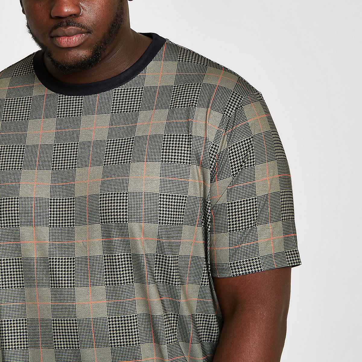 Big and Tall slim fit brown check T-shirt