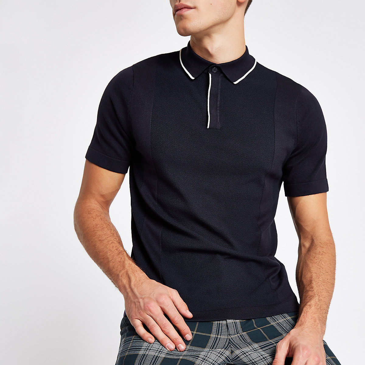 Navy tipped slim fit polo shirt