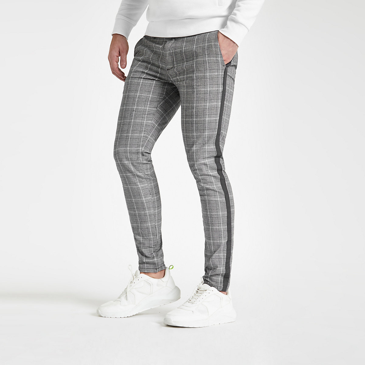 Grey check tape skinny pants