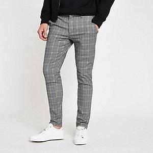 Grey and yellow check skinny pants