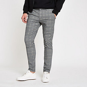 Pantalon skinny à carreaux gris et jaune