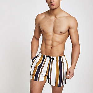Yellow stripe swim shorts