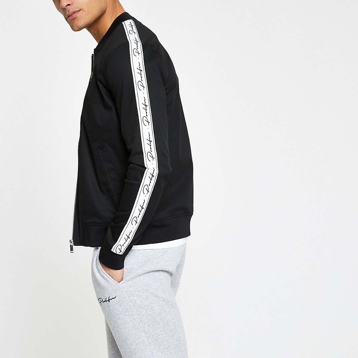 Black 'Prolific' muscle fit bomber jacket