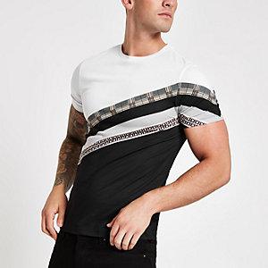 Zwart slim-fit geruit T-shirt met RI-logo