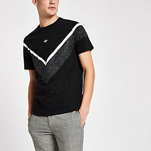 Schwarzes Muscle Fit T-Shirt mit Karos