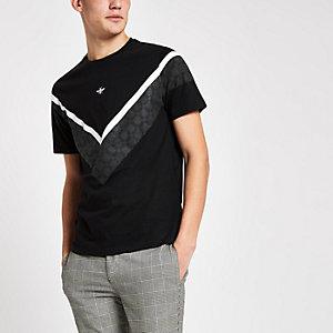 Zwart aansluitend chevron T-shirt met ruiten