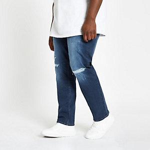 Big & Tall – Blaue Slim Fit Jeans im Used-Look