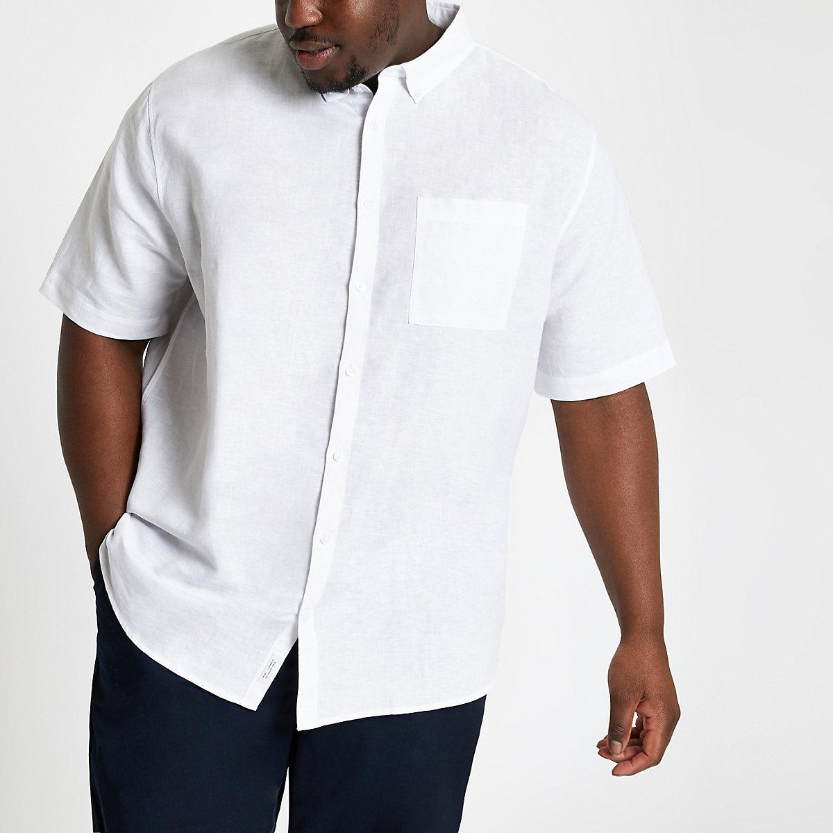 Big & Tall – Weißes, kurzärmliges Leinenhemd