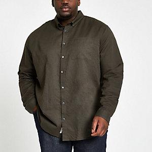 Big and Tall - Kaki linnen overhemd met lange mouwen