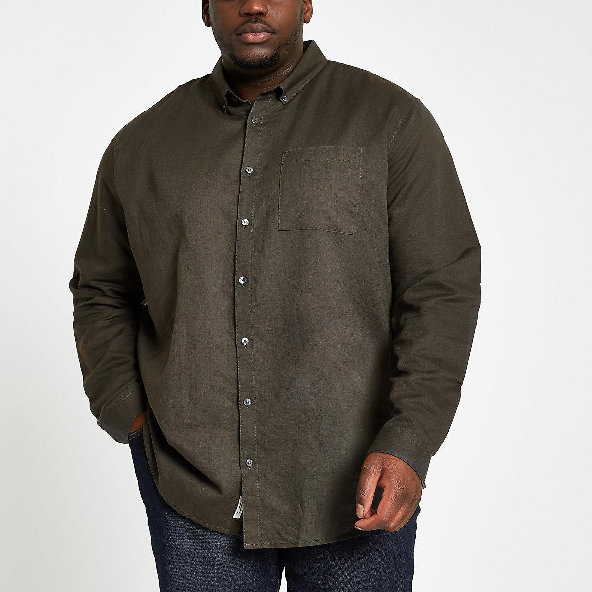 Big and Tall khaki linen long sleeve shirt