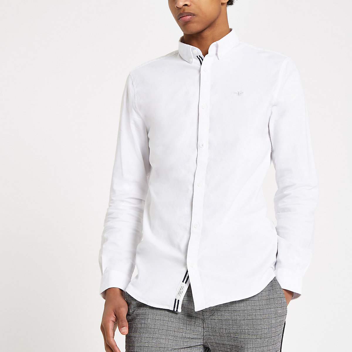 White wasp embroidered Oxford shirt