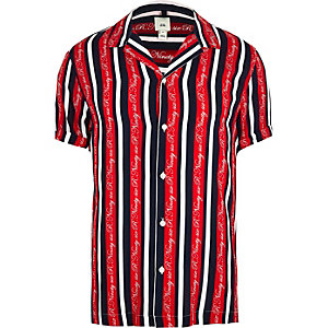 R96 Big and Tall red stripe shirt