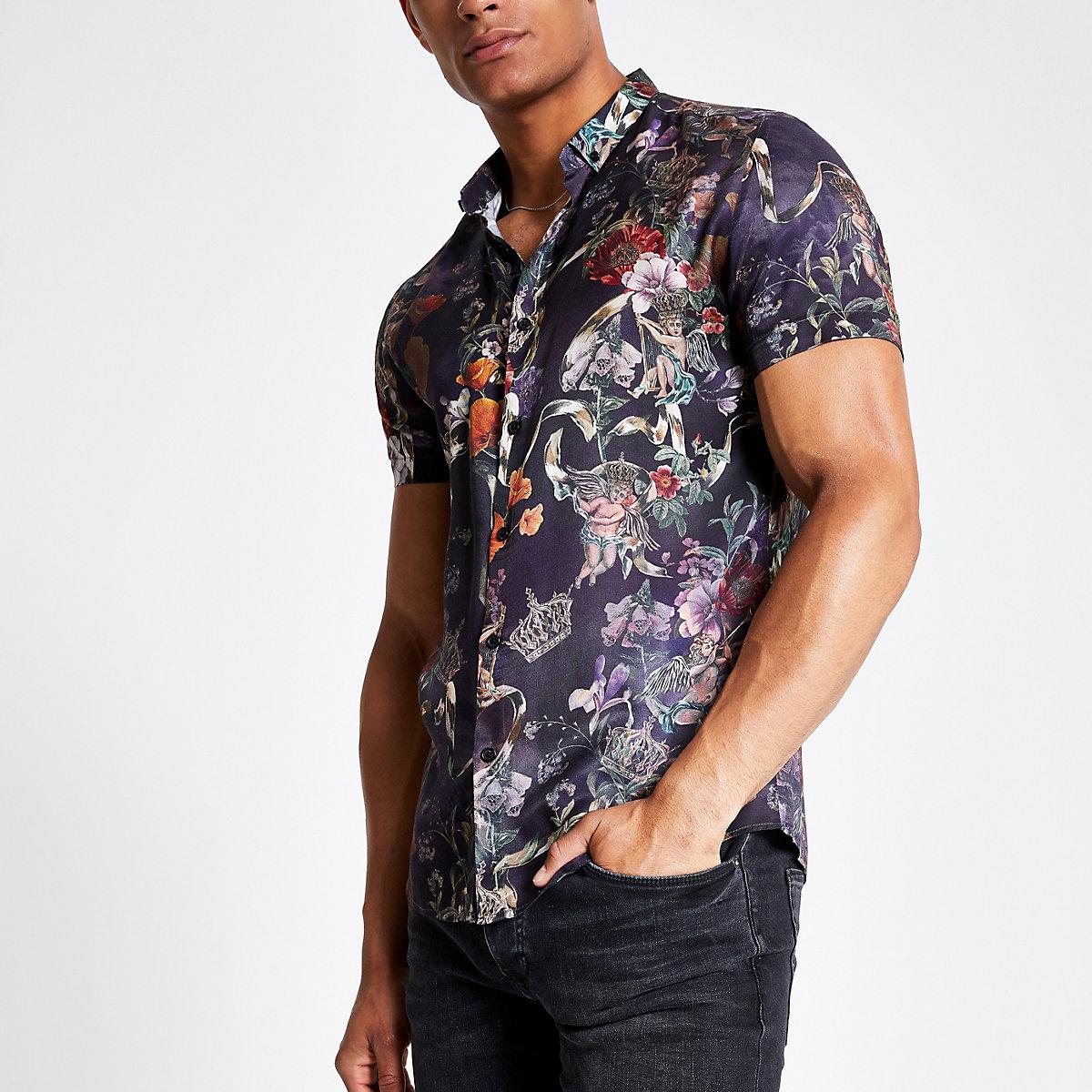 Black floral slim fit short sleeve shirt