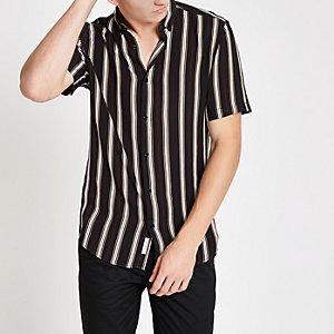 Chemise slim rayée noire à manches courtes