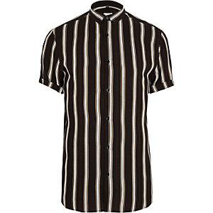 Big & Tall – Schwarzes Slim Fit Hemd mit Streifen