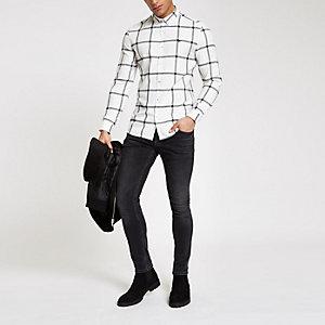 Wit geruit overhemd met knopen en lange mouwen