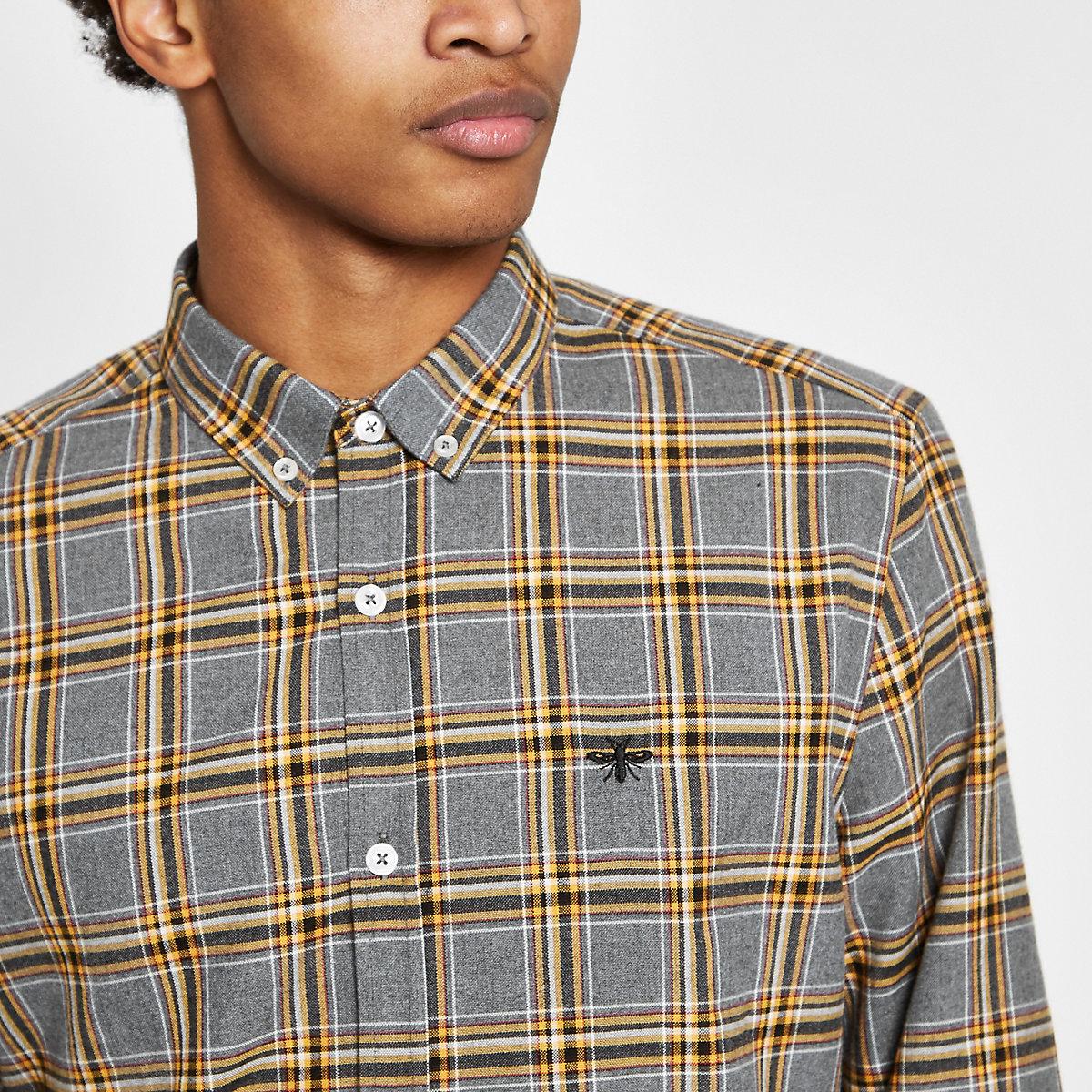 Grey and yellow check long sleeve shirt