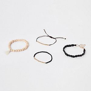 Black beaded bracelet pack