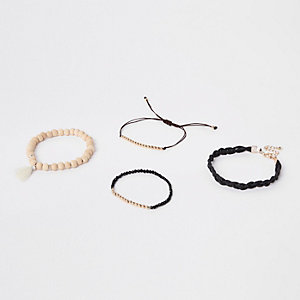 Black beaded bracelet pack