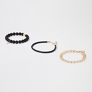 Black bead and gold chain bracelet pack