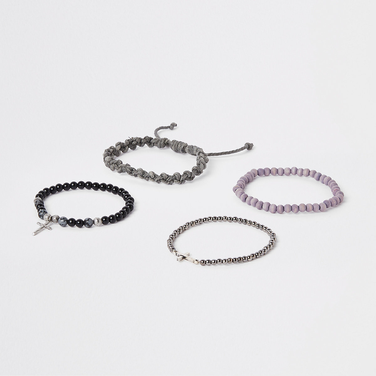 Grey bead and rope bracelet pack