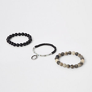 Grey bead bracelet pack