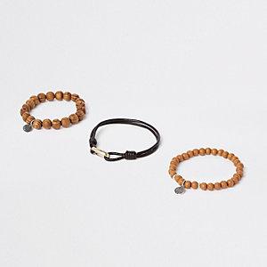 Braune, perlenverzierte Armbänder, Set
