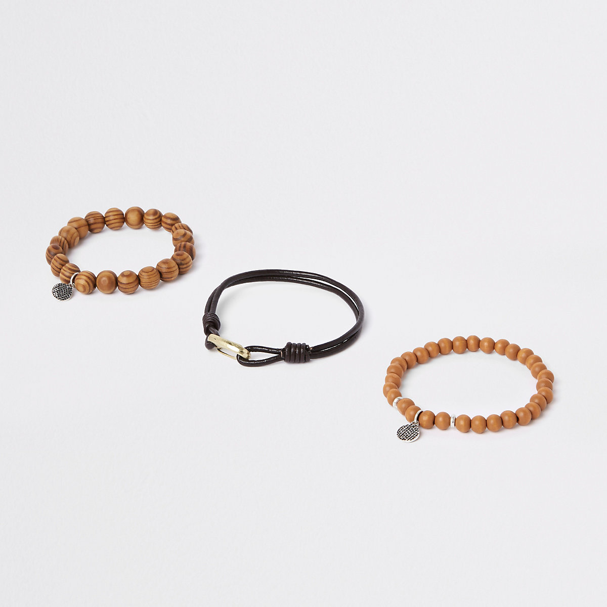 Brown beaded bracelet pack