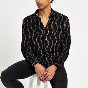 Zwart overhemd met kettingprint en lange mouwen