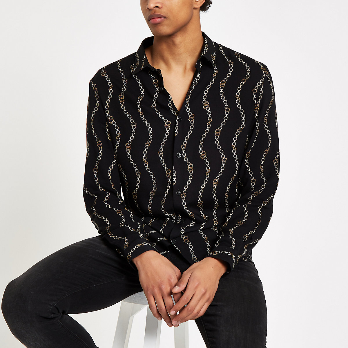 Black chain print long sleeve shirt
