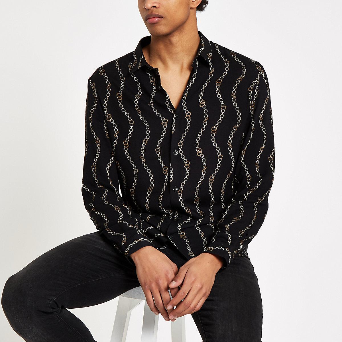Black chain print long sleeve shirt