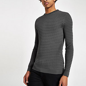 Grey cable textured crew neck slim fit sweater