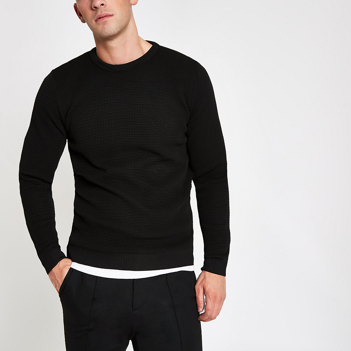 Black textured slim fit crew neck jumper