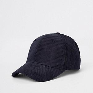 Marineblaue Baseball-Kappe aus Cord