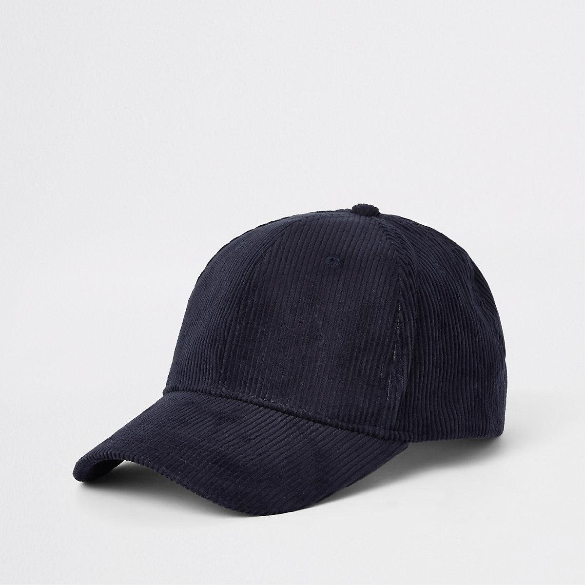 Navy cord baseball cap
