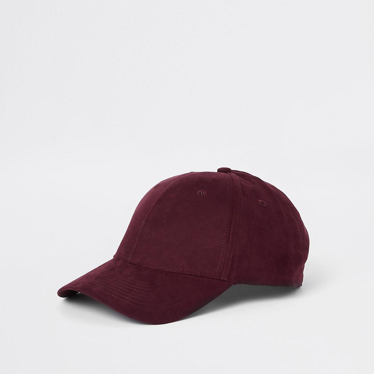 Dark red suede baseball cap