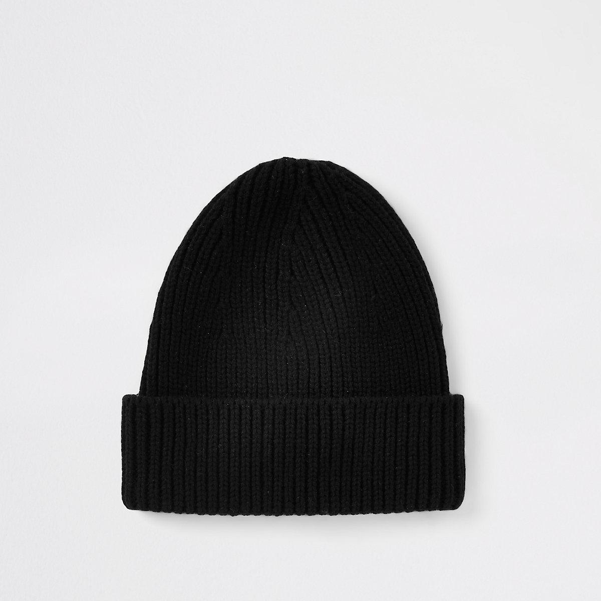 Black knit fisherman beanie hat