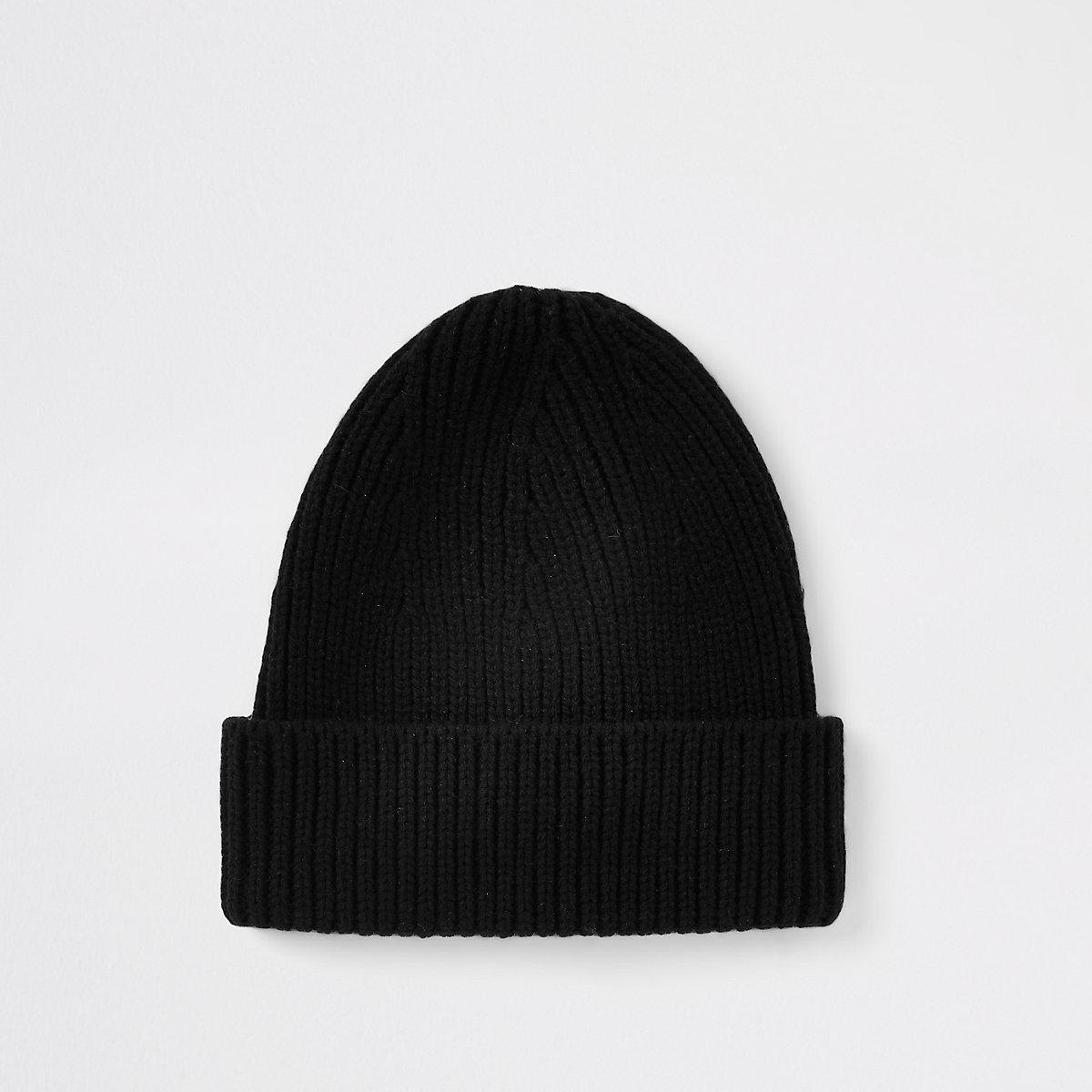 Black knit fisherman beanie hat