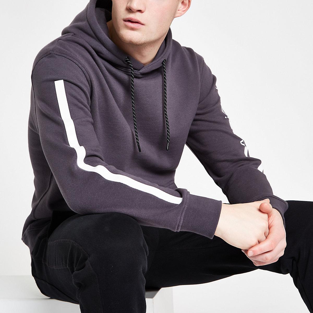 Arcminute grey tape long sleeve hoodie