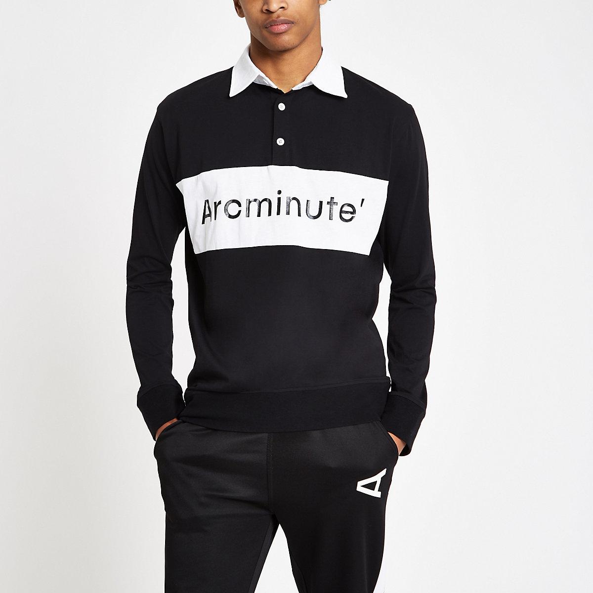Arcminute – Schwarzes, langärmliges Rugby-Hemd