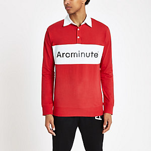 Arcminute - Rood rugbyshirt met lange mouwen