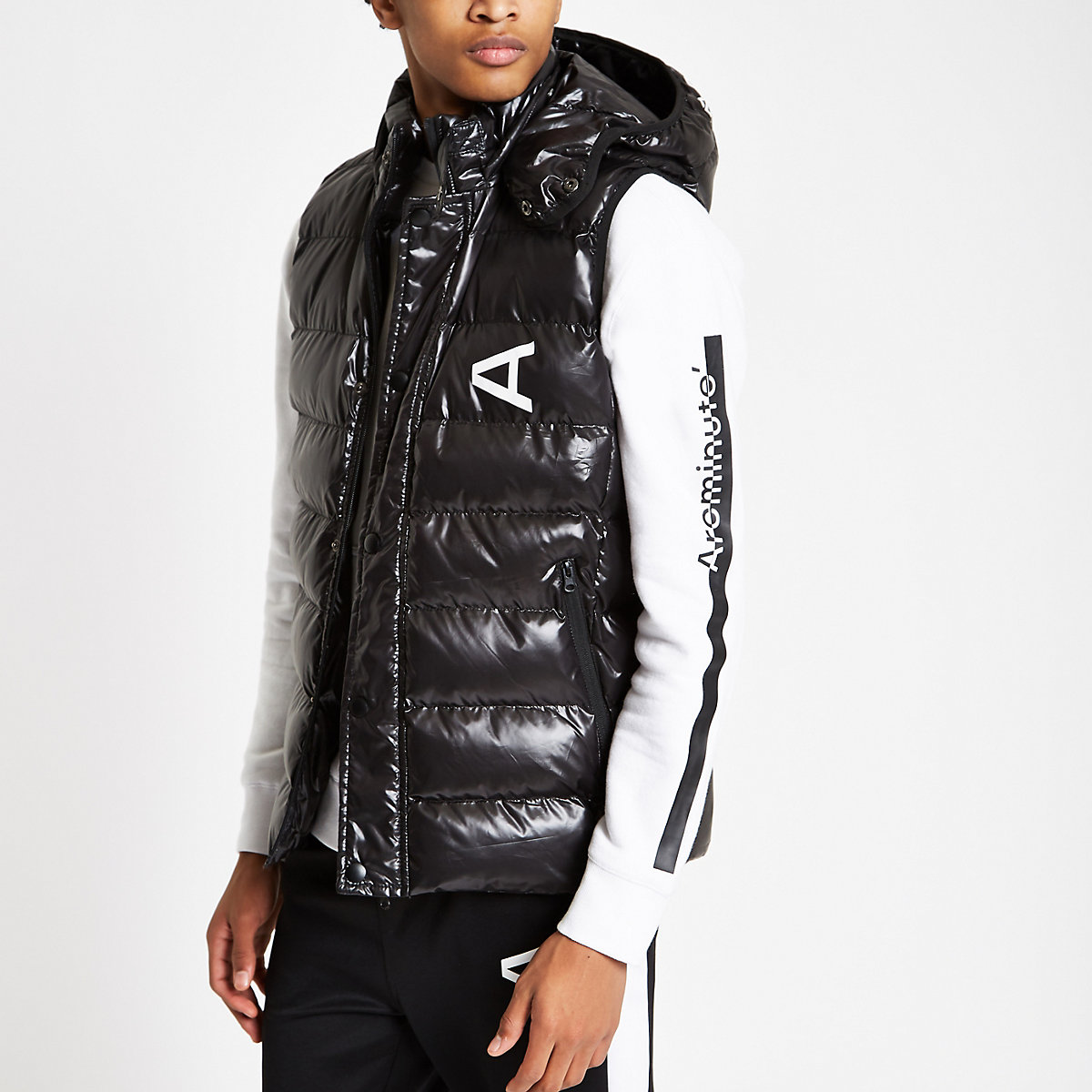 Arcminute black hooded puffer vest