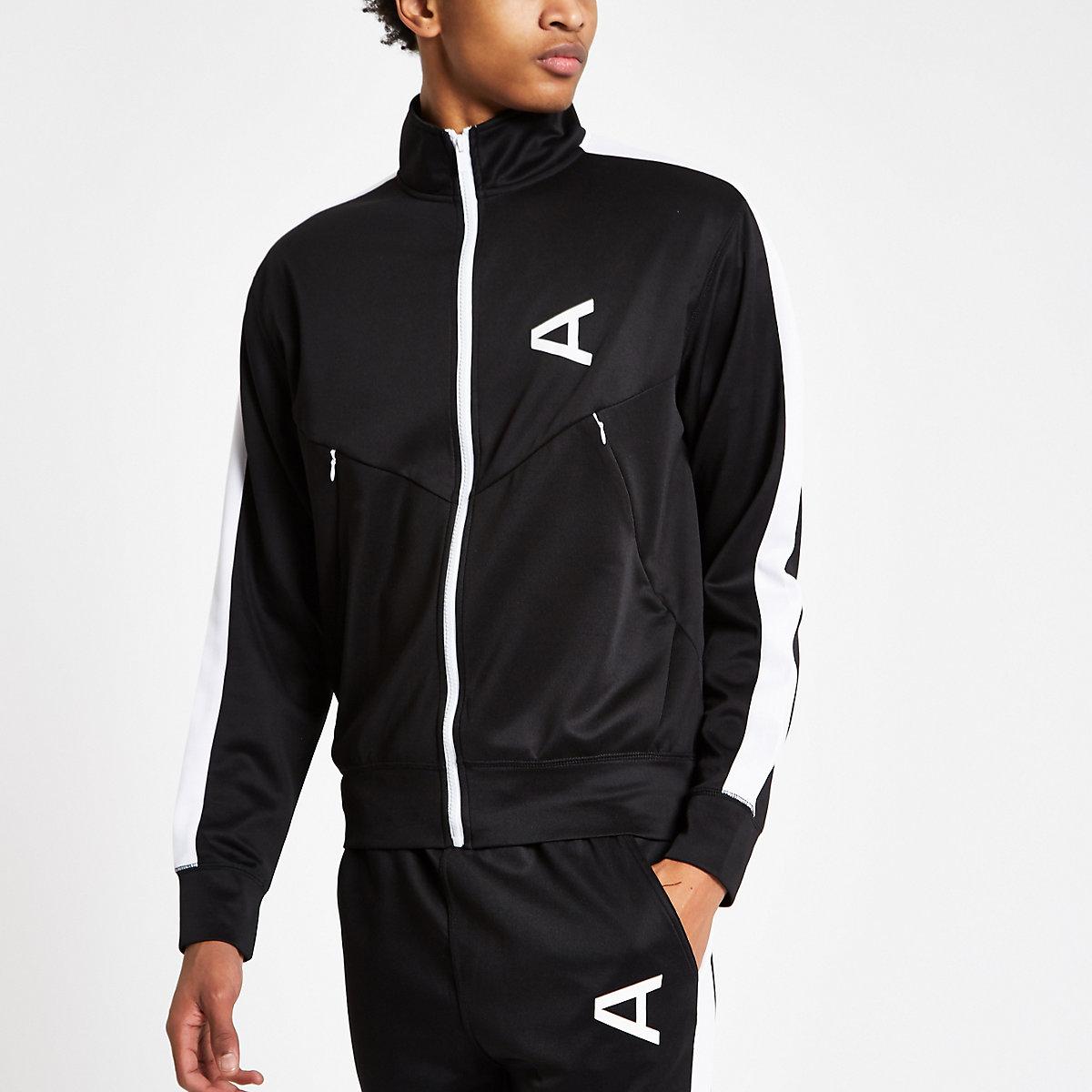 Arcminute black funnel neck track jacket