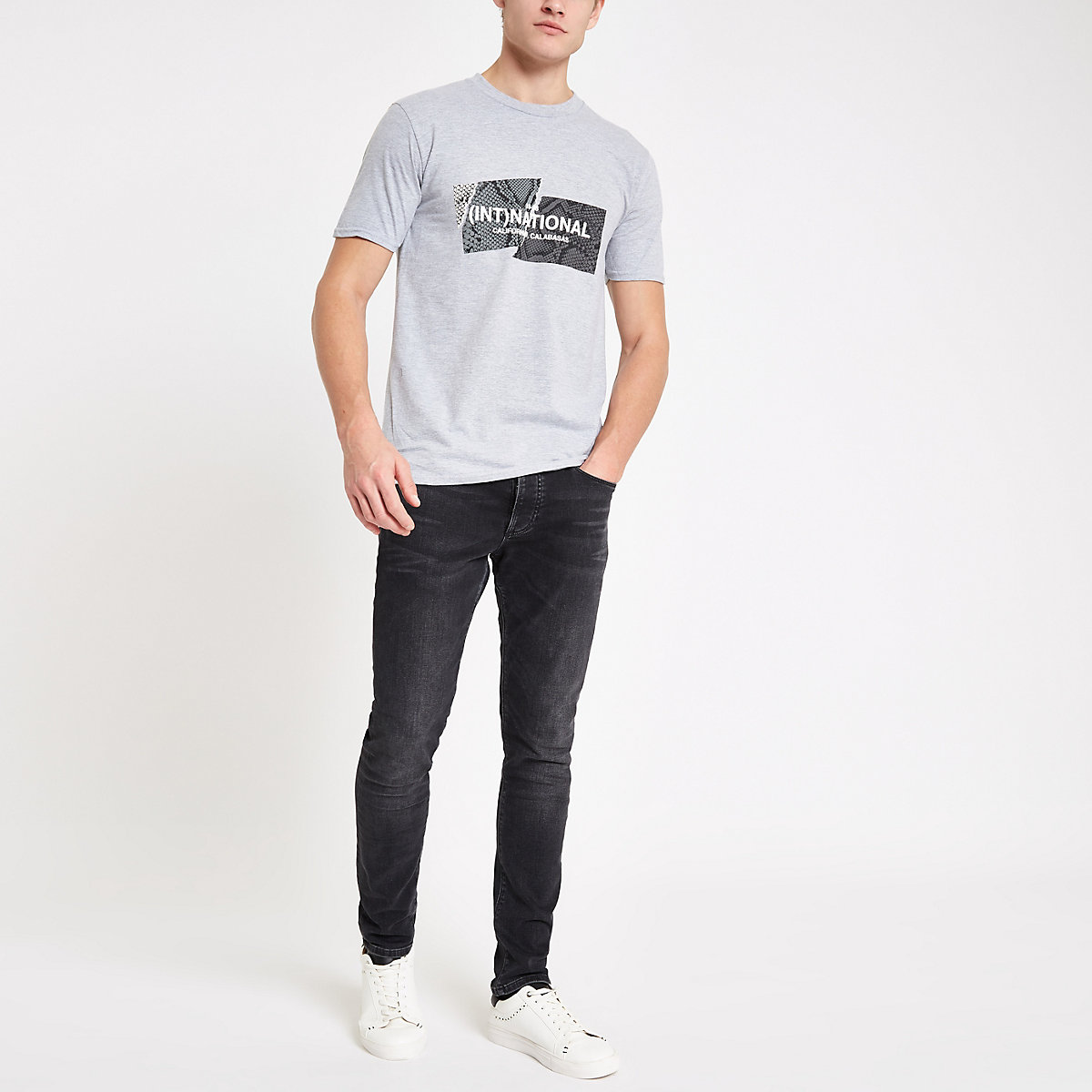 Grey '(Int)national' print slim fit T-shirt