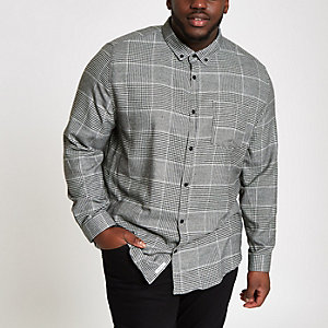 Big and Tall grey check long sleeve shirt