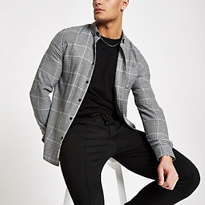 Grey check button down long sleeve shirt