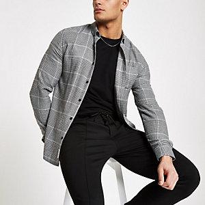 Chemise à carreaux grise à boutons et manches longues