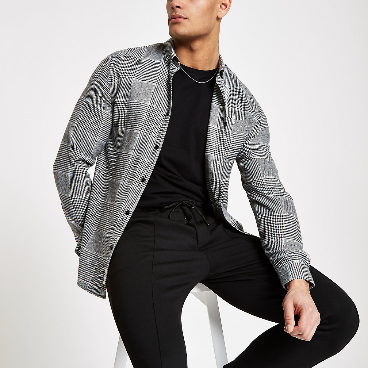 Grey check button down long sleeve shirt