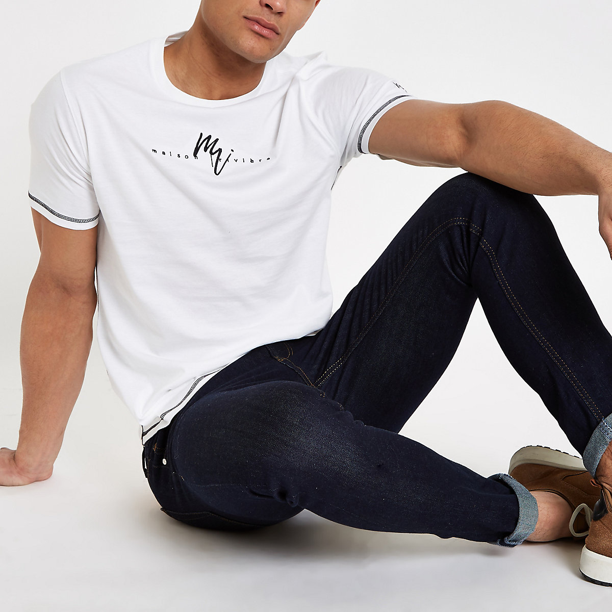 White 'Maison Riviera' slim fit T-shirt