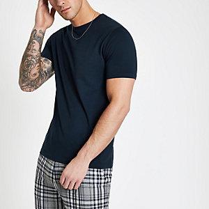 Marineblaues Slim Fit T-Shirt mit kurzen Ärmeln